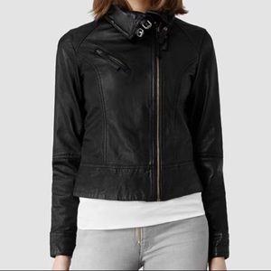 AllSaints Belvedere leather jacket black size US 4